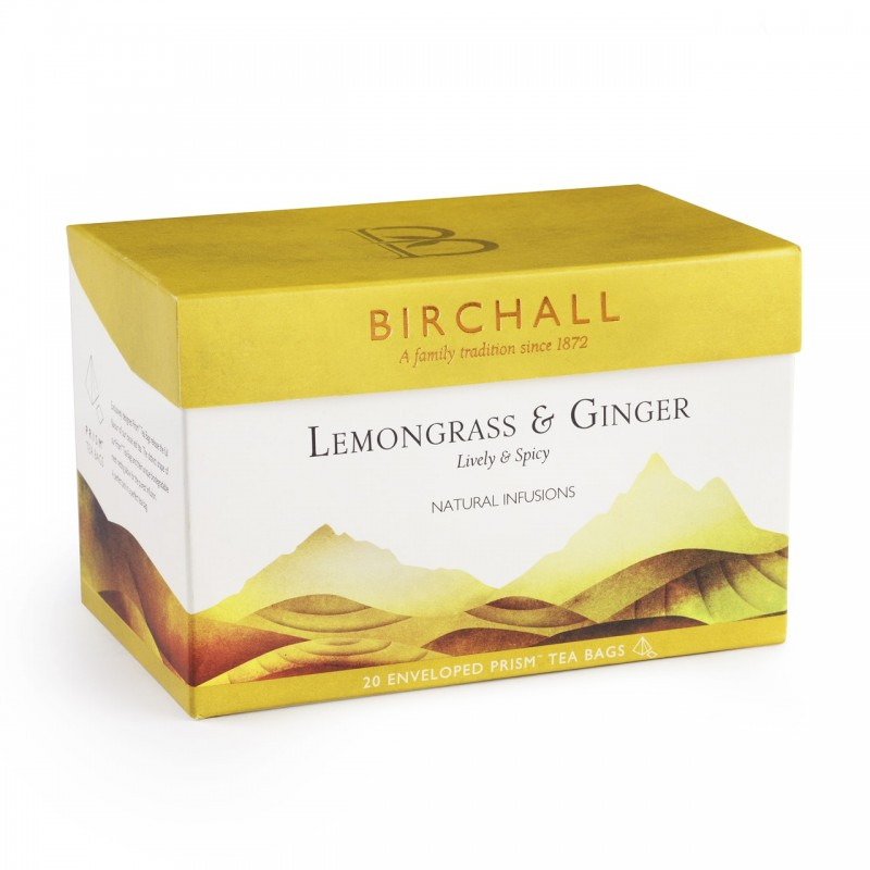 Birchall Natural Infusions Lemongrass & Ginger Tea (20 Enveloped Prism Bags)